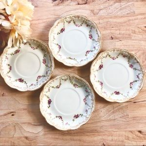Beautiful Floral Limoges France Saucers